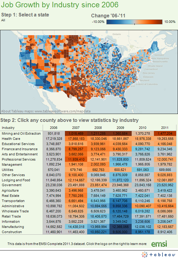 Interactive Maps On US Economy InvestingforOne - Us map job growth