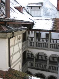From the balcony of my favorite hotel in Lucerne, Switzerland, the Weissen Kreuz. It was a rare October snow in 2010.